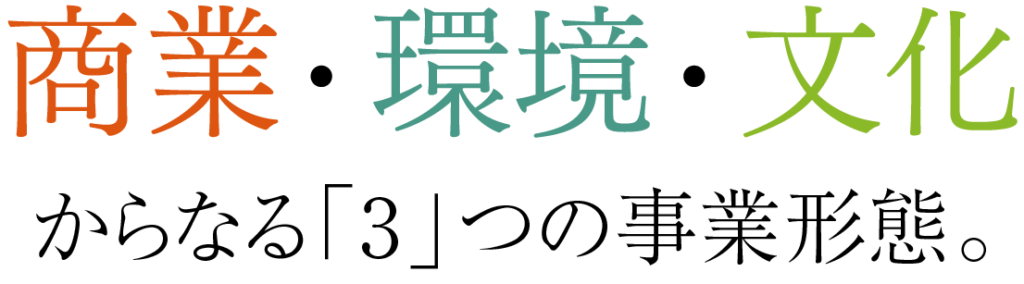 商業・環境・文化からなる3つの事業携帯
